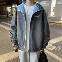 Jacket Other / other Youth fashion Grey blue, black yellow S. M, l, XL, 2XL, 3XL, XS plus small routine easy Other leisure spring Long sleeves Wear out Hood tide teenagers routine Zipper placket 2021 Cloth hem No iron treatment Closing sleeve Solid color polyester fiber other Side seam pocket