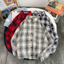 shirt Youth fashion Others S. M, l, XL, 2XL, XS plus small routine square neck Long sleeves standard Other leisure Four seasons teenagers tide 2021 Solid color Denim washing badge