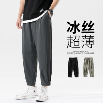 Casual pants Others Youth fashion Dark grey, black, green, light grey S. M, l, XL, 2XL, 3XL, 4XL, 5XL, XS plus small thin Ninth pants Other leisure easy teenagers like a breath of fresh air 2021 Polyester fiber 94.7% polyurethane elastic fiber (spandex) 5.3% Solid color