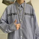 shirt Youth fashion Others S. M, l, XL, XS plus small Blue stripe routine square neck Long sleeves easy Other leisure spring teenagers tide 2021 stripe No iron treatment cotton printing