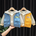 Plain coat Kuwa in charge male 80cm 90cm 100cm 110cm 120cm Sky blue yellow spring and autumn leisure time Zipper shirt No model routine No detachable cap stripe cotton other Cotton 90% other 10% Spring 2021