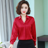 shirt White, red, pink M,L,XL,2XL,3XL Spring 2021 other 71% (inclusive) - 80% (inclusive) Long sleeves commute Regular V-neck Socket routine Solid color Straight cylinder Korean version Button