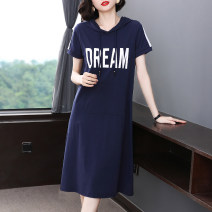 Dress Summer 2021 Royal blue to be developed - don't shoot this item M L XL 2XL 3XL 4XL 5XL Mid length dress singleton  Short sleeve commute Hood Loose waist Socket A-line skirt routine 40-49 years old Type A Fangnisi Simplicity Patchwork printing FNS6792 More than 95% cotton