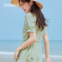 Dress Summer 2021 Ivory white light water green S XL M L Mid length dress singleton  Short sleeve Sweet Crew neck High waist Socket A-line skirt routine 25-29 years old Type A Inman  180_ TM2265a 51% (inclusive) - 70% (inclusive) other cotton Cotton 65.2% viscose 34.8% Countryside