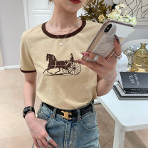 T-shirt Apricot, blue S,M,L Summer 2021 Short sleeve Crew neck Regular routine cotton 96% and above 25-29 years old