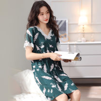 Nightdress Other / other luxurious Short sleeve pajamas summer Plants and flowers middle age V-neck viscose  lace 81% (inclusive) - 95% (inclusive) Modal fabric 200g and below