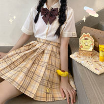 skirt Summer 2020 XS,S,M,L,XL,2XL Middle-skirt Sweet Natural waist Pleated skirt lattice Type H 18-24 years old Kyouko college