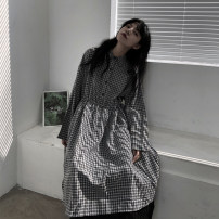 Dress Autumn 2020 Average size longuette singleton  Long sleeves commute Polo collar High waist lattice Single breasted A-line skirt routine 18-24 years old Type A Button polyester fiber