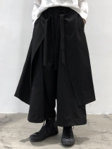 Casual pants black Average size Spring 2021 trousers Wide leg pants High waist commute routine 18-24 years old polyester fiber pocket cotton Asymmetry