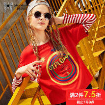 T-shirt Red black 150/XS155/S160/M165/L170/XL Autumn of 2018 Long sleeves Crew neck easy Regular routine street 25-29 years old originality Letter splicing Max Martin / Mary M72570T03 Stitching embroidery Cotton 95.3% polyurethane elastic fiber (spandex) 4.7% Pure e-commerce (online only)