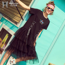 Dress Spring of 2019 black S M L XL Mid length dress singleton  Short sleeve street Crew neck Loose waist Socket Cake skirt routine 25-29 years old Type A Max Martin / Mary M1920D0360 91% (inclusive) - 95% (inclusive) cotton Cotton 92.1% polyurethane elastic fiber (spandex) 7.9% Europe and America