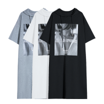 Dress Spring 2021 Light grey, black, white Average size cotton