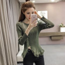 Wool knitwear Fall 2017 Average size Green, black, red Long sleeves singleton  Socket other 30% and below Regular routine Sweet Self cultivation Low crew neck routine Solid color Socket Other / other Splicing college