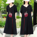 Women's large Summer 2021 Black red S M L XL XXL Dress singleton  commute easy thin Socket Short sleeve Solid color lady V-neck Medium length Cotton and hemp Three dimensional cutting routine Xizi meet 30-34 years old Embroidery 51% (inclusive) - 70% (inclusive) longuette Cotton 70% flax 30% other