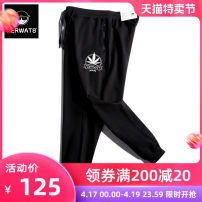 Casual pants KERWATS Youth fashion black XL 3XL 4XL 5XL 6XL XXL M L routine trousers Other leisure easy get shot Four seasons Large size tide 2019 middle-waisted Little feet Cotton 95% polyurethane elastic fiber (spandex) 5% Sports pants Rib stitching other plain cloth cotton Summer of 2019