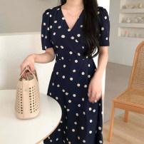 Dress Summer 2020 navy blue S,M,L,XL longuette singleton  Short sleeve commute V-neck High waist Decor 18-24 years old Other / other Korean version