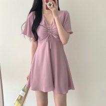 Dress Spring 2021 White, pink, blue S,M,L,XL Middle-skirt singleton  Short sleeve commute V-neck Solid color Socket Others 18-24 years old Type A Other / other Korean version
