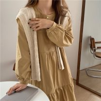 Dress Spring 2021 Apricot dress, yellow dress, black dress, apricot shawl, coffee shawl Average size Mid length dress Two piece set Long sleeves commute Crew neck Solid color Socket routine Others 18-24 years old Korean version 71% (inclusive) - 80% (inclusive)