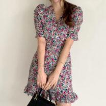Dress Summer 2021 Purple, pink S,M,L Short skirt singleton  Short sleeve commute V-neck Decor Socket Others 18-24 years old Korean version 71% (inclusive) - 80% (inclusive)