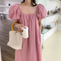 Dress Summer 2021 Black, pink Average size Mid length dress singleton  Short sleeve commute square neck Solid color Socket puff sleeve Others 18-24 years old Retro 71% (inclusive) - 80% (inclusive)