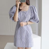 Dress Summer 2021 Blue, black S,M,L Short skirt singleton  Short sleeve commute square neck middle-waisted lattice Socket puff sleeve Others 18-24 years old Other / other Korean version 71% (inclusive) - 80% (inclusive)