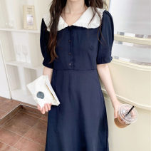 Dress Summer 2021 navy blue S,M,L Mid length dress singleton  Short sleeve commute Doll Collar High waist Single breasted routine Others 18-24 years old Type H Korean version 51% (inclusive) - 70% (inclusive) other