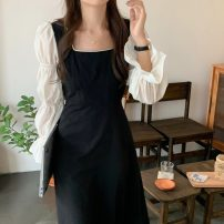 Dress Spring 2021 black Average size Mid length dress singleton  Long sleeves commute square neck Socket puff sleeve Others 18-24 years old Korean version 71% (inclusive) - 80% (inclusive)