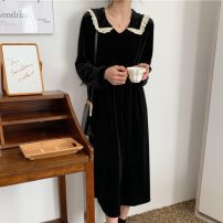Dress Spring 2021 black Average size Mid length dress singleton  Long sleeves commute V-neck High waist Socket routine Others 18-24 years old Type H Korean version Splicing 51% (inclusive) - 70% (inclusive) other