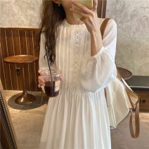 Dress Autumn 2020 White, beige Average size longuette singleton  Long sleeves commute other Loose waist Solid color Socket Big swing bishop sleeve Others 18-24 years old Korean version fungus 71% (inclusive) - 80% (inclusive) other other