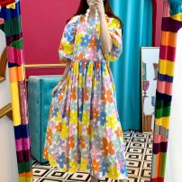 Dress Summer 2021 White background, yellow background Average size Mid length dress singleton  elbow sleeve commute Crew neck Decor Socket 18-24 years old Korean version 71% (inclusive) - 80% (inclusive)