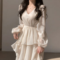 Dress Spring 2021 White, pink, black Average size Mid length dress singleton  Long sleeves commute High collar Solid color Socket routine Others 18-24 years old Other / other Korean version 71% (inclusive) - 80% (inclusive) cotton
