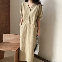 Dress Summer 2021 Korean version Medium length skirt Short sleeve singleton  commute Solid color V-neck Condom 18-24 years old puff sleeve 71% (inclusive) - 80% (inclusive) Other One size fits all