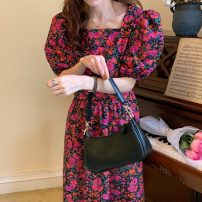 Dress Summer 2021 Decor Average size Mid length dress singleton  Short sleeve commute square neck Decor Socket Others 18-24 years old Korean version 71% (inclusive) - 80% (inclusive)