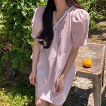 Dress Summer 2021 White, black, pink Average size Short skirt singleton  Short sleeve commute Half open collar Solid color Socket puff sleeve Others 18-24 years old Korean version 71% (inclusive) - 80% (inclusive)