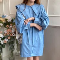Dress Spring 2021 Dark blue, light blue Average size Short skirt singleton  Long sleeves commute Doll Collar Loose waist Solid color Single breasted other routine Others 18-24 years old Type H Korean version Pleating 71% (inclusive) - 80% (inclusive) other other