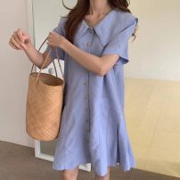 Dress Summer 2021 Light blue Average size Middle-skirt singleton  Short sleeve commute Doll Collar Solid color Single breasted Others 18-24 years old Korean version 71% (inclusive) - 80% (inclusive)