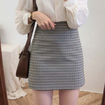 skirt Autumn of 2019 S,M,L,XL Short skirt commute High waist Splicing style lattice Type A 18-24 years old 71% (inclusive) - 80% (inclusive) Other / other Korean version