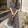 Dress Summer 2021 Black, yellowish green Average size Mid length dress singleton  Short sleeve commute Crew neck Decor Socket puff sleeve Others 18-24 years old Korean version 71% (inclusive) - 80% (inclusive)