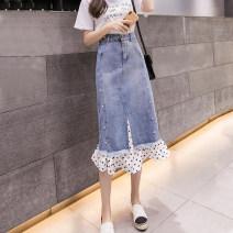 skirt Summer 2021 S,M,L,XL,2XL,3XL,4XL,5XL blue Mid length dress grace High waist Ruffle Skirt Dot Type H 25-29 years old 81% (inclusive) - 90% (inclusive) Denim Other / other cotton Pockets, beads, buttons, zippers, stitching