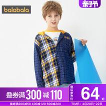 shirt Blue yellow 0483 Bala male 140cm 150cm 160cm 165cm 170cm 175cm spring and autumn Long sleeves leisure time lattice Pure cotton (100% cotton content) Cotton 100% Class B Autumn 2020