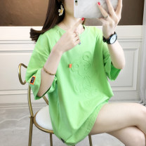 Lace / Chiffon Summer 2021 White, green, pink M,L,XL elbow sleeve Original design Socket singleton  easy Medium length Crew neck other routine 18-24 years old 31% (inclusive) - 50% (inclusive) cotton