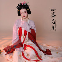 Custom made Hanfu See the moon in Sai Zhai female other Beige printed Tencel chiffon skirt is made to order, light pink purple silk shirt is made to order, red Tencel Chiffon is printed on silk