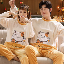 Pajamas / housewear set lovers Other / other Polyester (polyester) Cartoon Leisure home winter thickening Crew neck Cartoon animation trousers Socket youth 2 pieces rubber string More than 95% Flannel