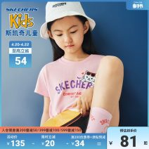T-shirt Bright white / 0019 blue pollen / 0093 pear yellow / 00pu carbon black / 0018 SKECHERS / SKECHERS 110cm 120cm 130cm 140cm 150cm 155cm female summer Short sleeve Crew neck leisure time nothing cotton Cartoon animation Cotton 100% L220G117 Class B Sweat absorption Spring 2020 Chinese Mainland