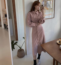 Dress Spring 2021 Blue, pink Average size Mid length dress singleton  Long sleeves Polo collar High waist Bat sleeve Others 18-24 years old Other / other