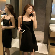 Dress Spring 2021 black S,M,L Mid length dress singleton  Sleeveless commute other High waist Solid color Socket A-line skirt other camisole Type A Korean version Buttons, pockets, zippers Small black skirt tiktok other modal