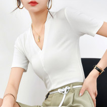 T-shirt Lake blue white gray black S M L XL XXL Summer 2020 Short sleeve V-neck Self cultivation Regular routine commute other 96% and above 30-34 years old Solid color stitching Lamosky Color 6009 Splicing thread Other 100% Pure e-commerce (online only)