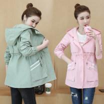 short coat Autumn 2020 S,M,L,XL,2XL Black, green, pink Long sleeves Medium length routine singleton  easy routine Hood zipper pocket