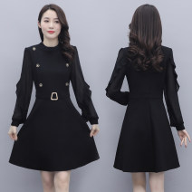 Dress Spring 2021 black M,L,XL,2XL,3XL Mid length dress singleton  Long sleeves commute Crew neck middle-waisted Solid color Socket A-line skirt routine Others Type A lady Stitching, thread, button, mesh
