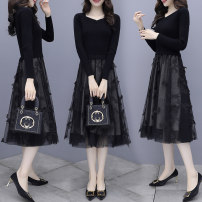 Dress Spring 2021 Picture color M,L,XL,2XL,3XL Mid length dress singleton  Long sleeves commute square neck High waist Solid color Socket Big swing routine Others Type A lady Bowknot, fold, stitching, thread, three-dimensional decoration, gauze knitting